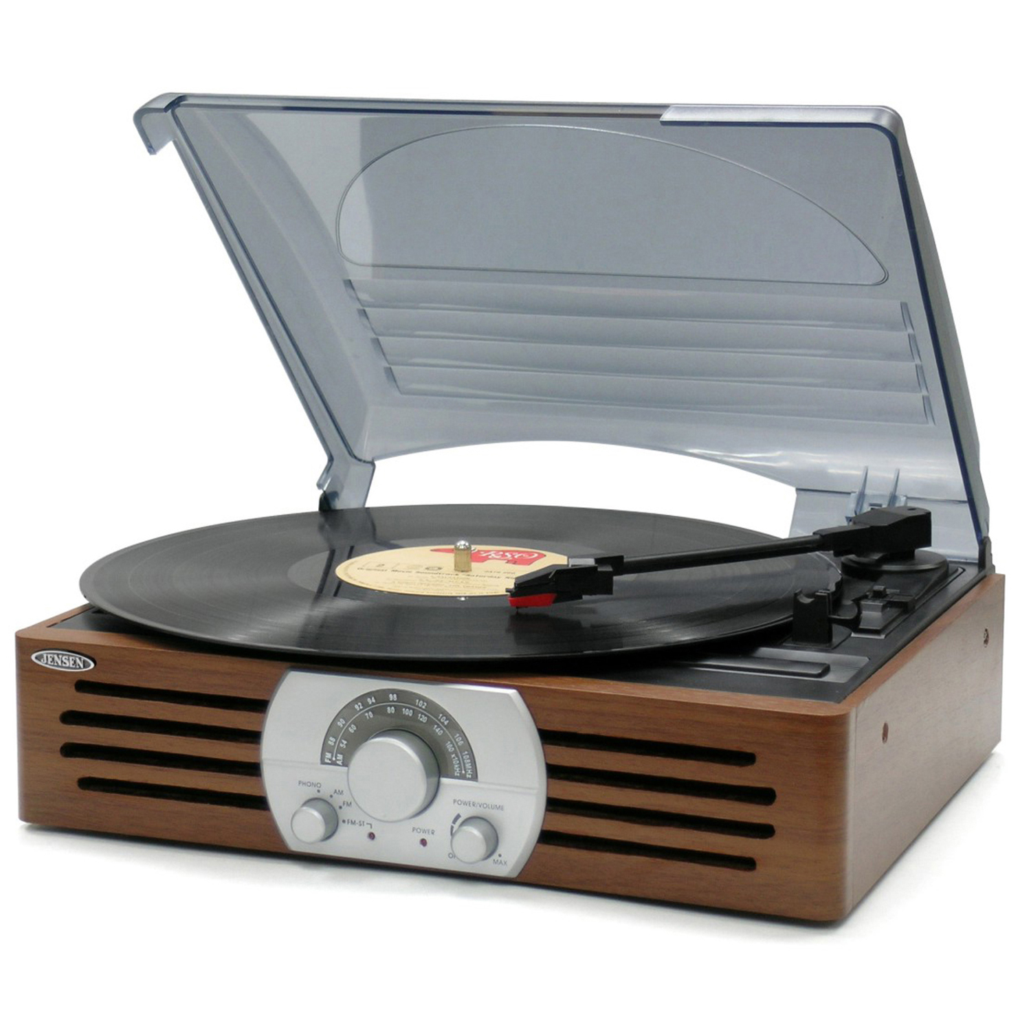JENSEN JTA300 3-SPEED STEREO TURNTABLE WITH AM//FM STEREO RADIO
