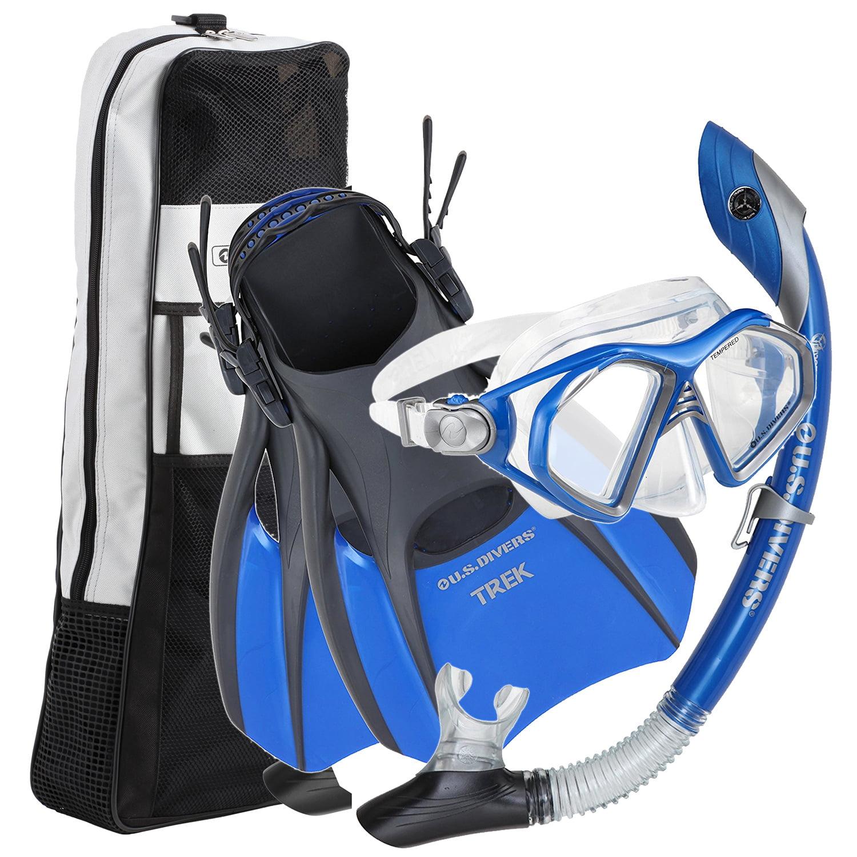 U.S. Divers Admiral Snorkeling Set Mask Blue + Trek Fins + Snorkel + Bag � Small by U.S. Divers