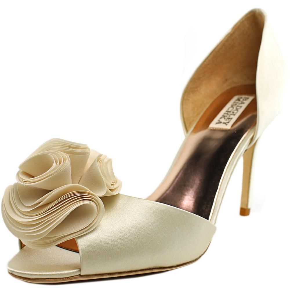 Badgley Mischka Amaze Women Peep-Toe Canvas Ivory Heels by Badgley Mischka