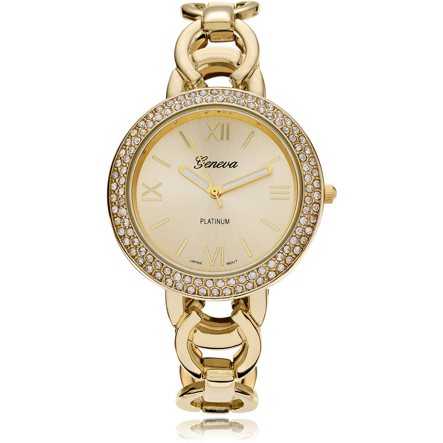 Brinley Co. Women's Rhinestone Accent Link Band Fashion Watch, Gold