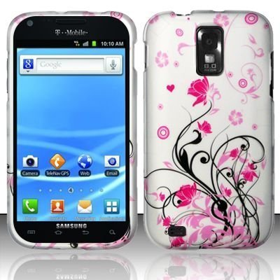 Design Rubberized Hard Case for Samsung Galaxy S2 T989 (T-Mobile) - Pink Lotus & Black Vine