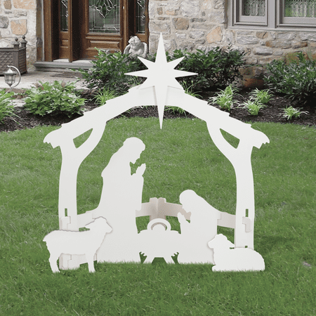 Outdoor White Nativity set](Nativity Yard Sets)