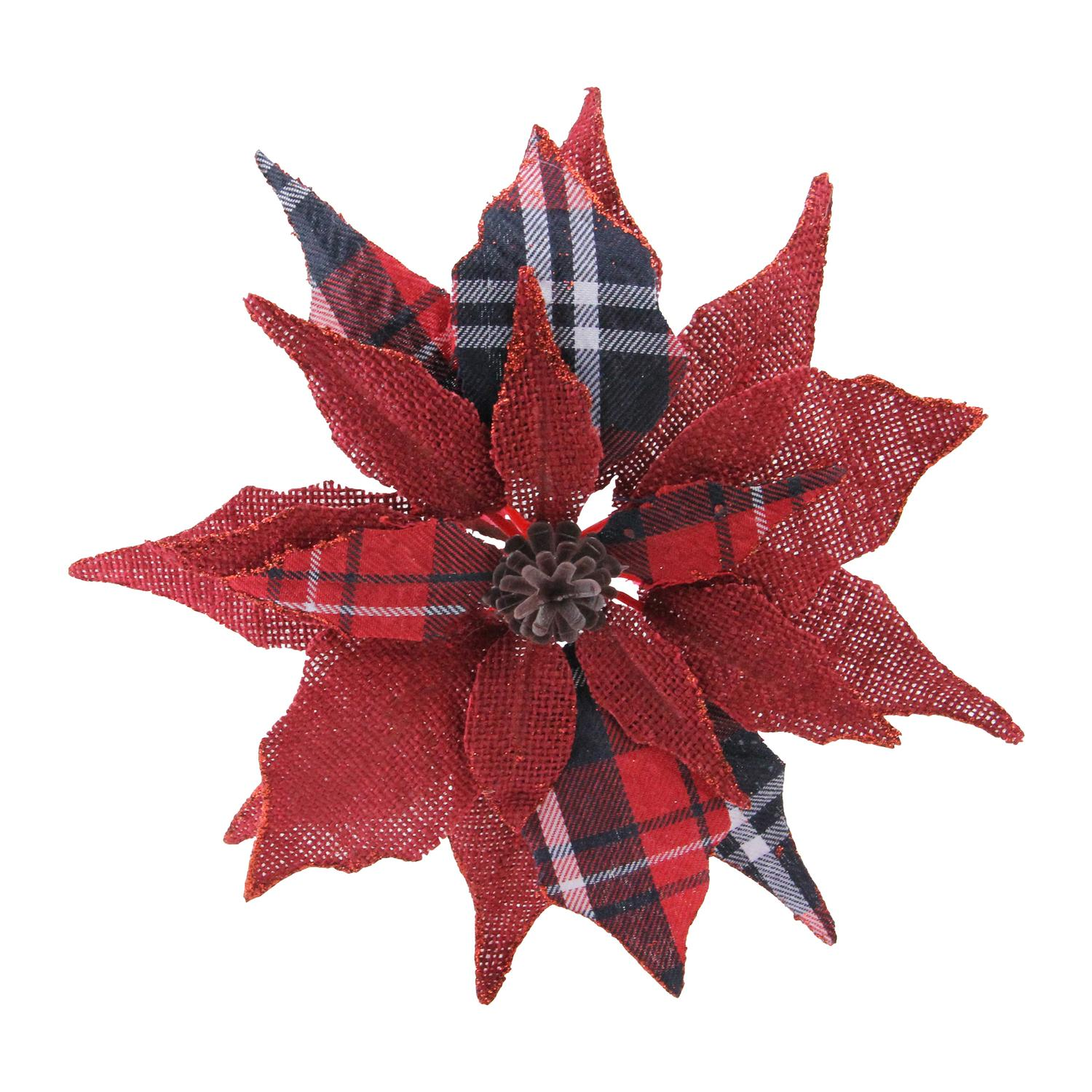 "9.5"" Scarlet and Black Plaid Poinsettia Clip-On Christmas Ornament"
