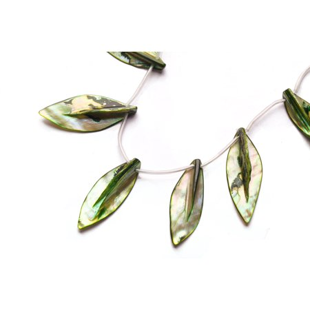 Forest Green Mother-Of-Pearl Top Drilled Leaf Shell Beads Size:45x20mm - Green Beads