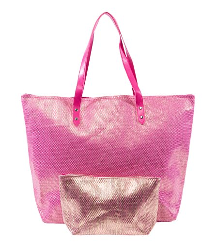 Metallic Fashion Beach Bag Tote with Zipper Top Combo with Matching Pouch (Metallic Pink)