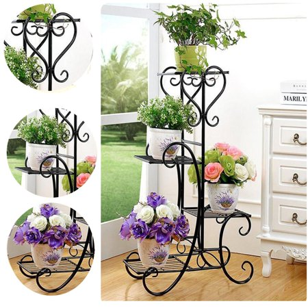 4 Tier Black Wrought Iron Flower Stand Plant Stand Shelf Stainless Steel Flower Pot Flower Display Stand For Balcony Terrace Indoor Outdoor