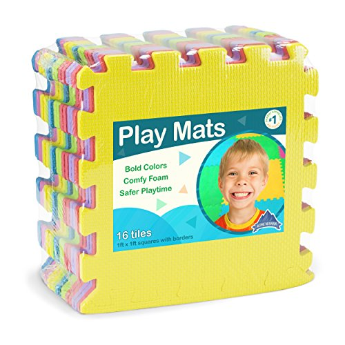 Foam Puzzle Play Mat with Borders Kids Multi-Color Safe Baby Playground Soft Padded Floor Protection EVA Foam Interlocking Tiles Non-Toxic 30x30cm 10PC 10SQ Ft