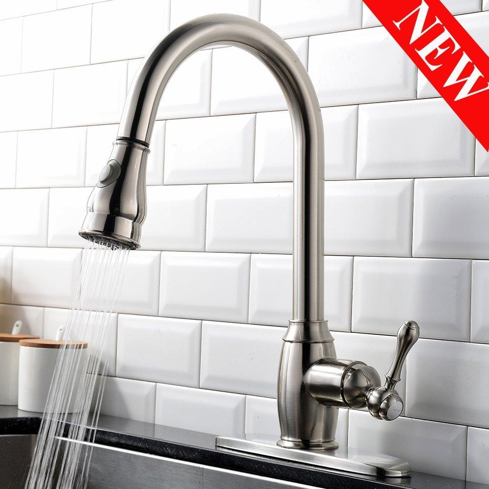 ... Vesla Home Luxurious Single Handle Pull Down Sprayer Brushed Nickel  Kitchen Sink Faucet, Stainless Steel