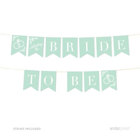 Bride To Be Floral Mint Green Wedding Hanging Pennant Party Banner with String (Bride To Be Banner)