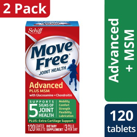 (2 Pack) Move Free Advanced Plus MSM, 120 tablets - Joint Health Supplement with Glucosamine and
