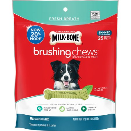 Milk-Bone Brushing Chews Daily Dental Dog Treats, Fresh Breath, Small-Medium, 19.6 Ounces, 25 Bones Per Bag