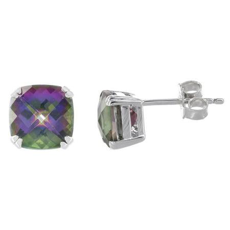 Sterling Silver Cushion Cut Citrine Earrings (Sterling Silver Mystic Fire Topaz Cushion-cut Stud Earrings )