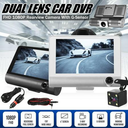 "360° 3 Shots 2 Lens 4.0"" Night vision Full HD 1080P Car DVR Dash Cam Dashboard Camcorder Backup Camera Parking Monitor Front AND Rear Camera 170 ° Vehicle Video Recorder"