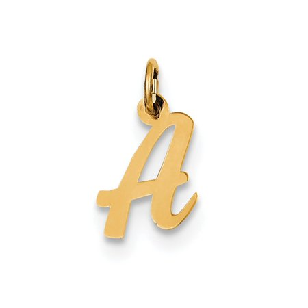 14k Yellow Gold Polished Flat Script Upper Case Letter A Initial Charm 17x11mm