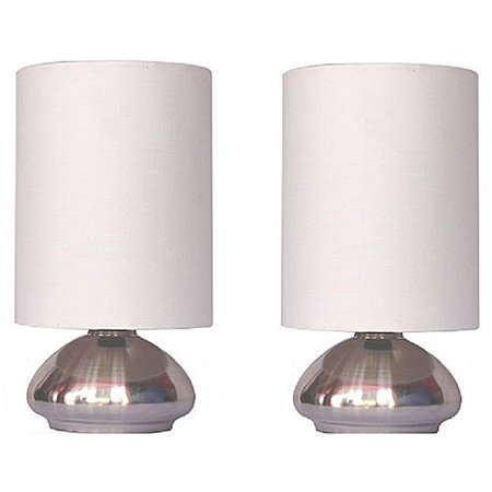 Simple Designs Gemini 2 Pack Mini Touch Lamp With Brushed