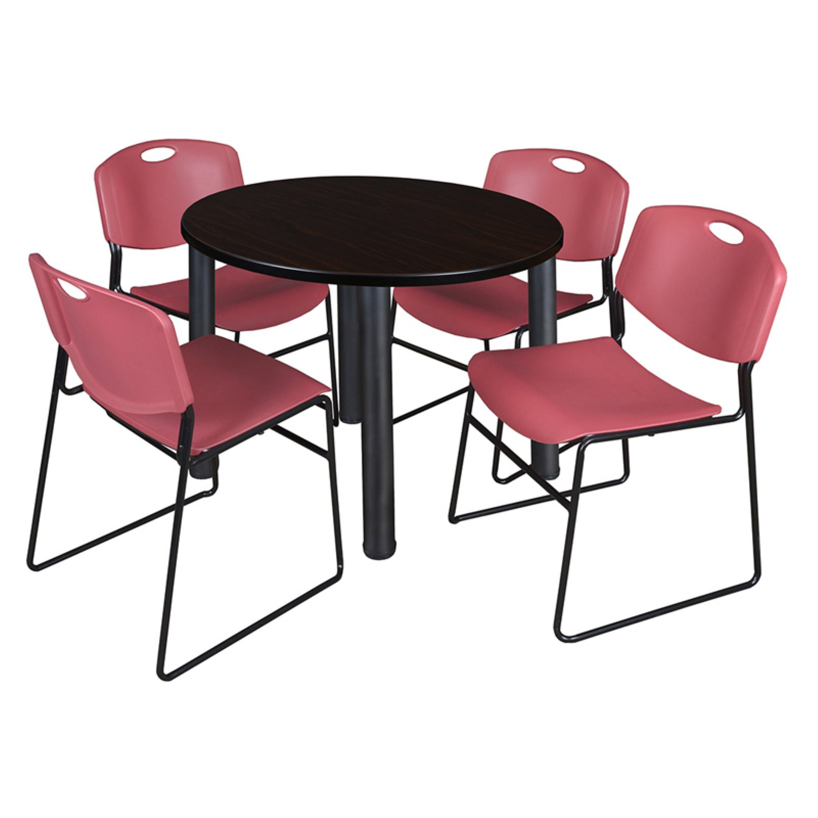 """Kee 42"""" Round Breakroom Table- Mocha Walnut/ Chrome & 4 Zeng Stack Chairs- Blue"""