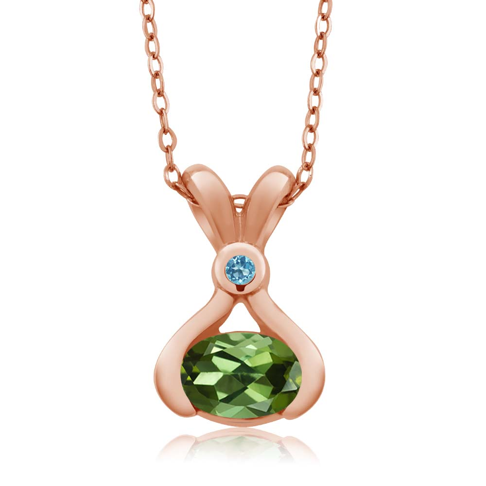 0.75 Ct Oval Green Tourmaline Swiss Blue Simulated Topaz 18K Rose Gold Pendant by