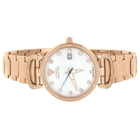 Gold Aqua Master Watch Stainless Steel 0.3CT Genuine Diamond Mother Of Pearl Dial Analog Classy Display Brand New