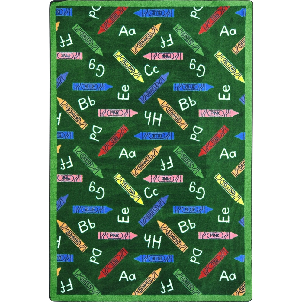 "Joy Carpets Playful Patterns - Children's Area Rugs Crayons, 7'8"" x 10'9"", Green"