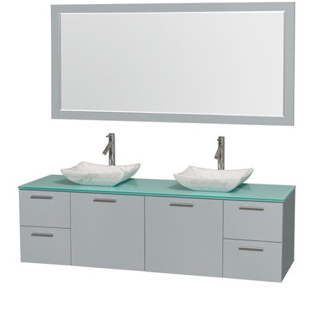 Wyndham Collection Amare 72 inch Double Bathroom Vanity in Dove Gray, Green Glass Countertop, Avalon White Carrera Marble Sinks, and 70 inch Mirror