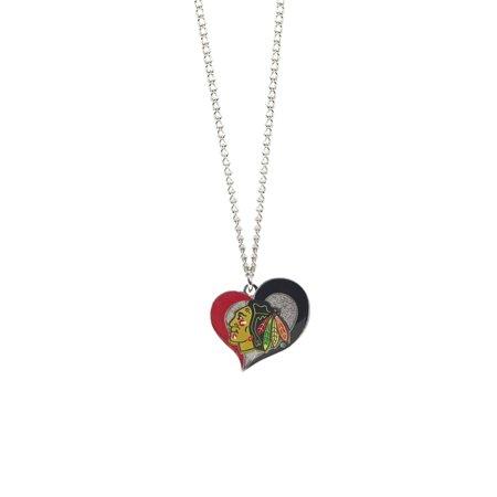 NHL Hockey Swirl Heart Necklace Pick Your (Heart Team Logo Pendant)