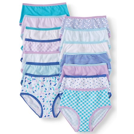 Wonder Nation Girls' Brief Underwear, 14 Pack 100% Cotton Panties Sizes 4-18