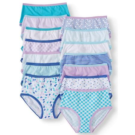 Wonder Nation Girls' Brief Underwear, 14 Pack 100% Cotton Panties Sizes 4-18