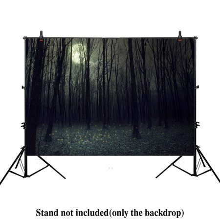 HelloDecor Polyster 7x5ft photography backdrop background darkness autumn forest halloween woods night trees Dark forest landscape props photo Woodland studio booth