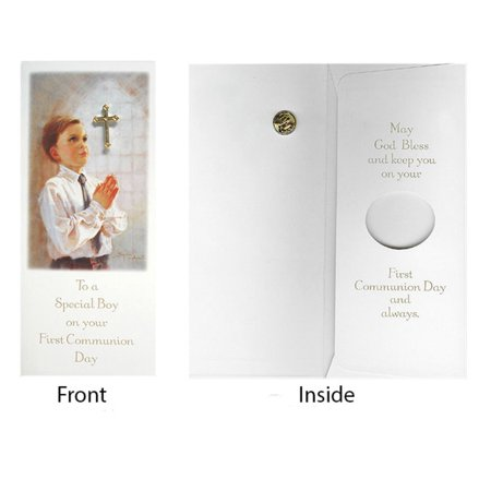 Club Pack of 24 Boy First Communion Day Gift Card & Cross Pin #40118