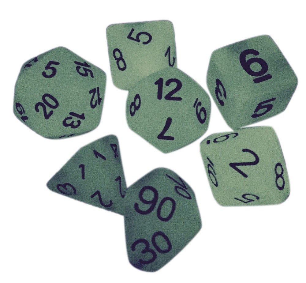 Light Green Glow in the Dark - Pack of 7 Polyhedral Dice (7 Die in Set) | Role Playing Game Dice | D4, D6, D8, D10, D%, D12, and D20 -