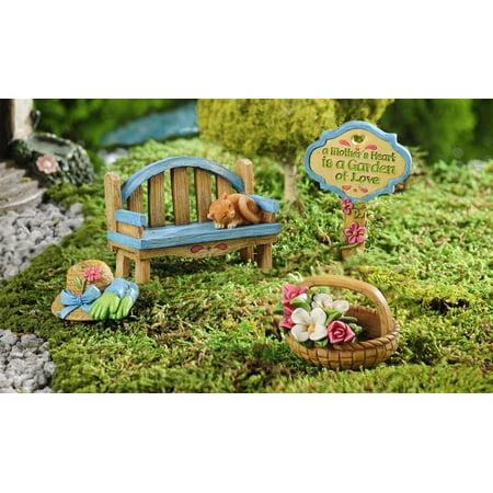 Mini World Mom's Garden Figurine Set 4 Pieces 705416 Dollhouse Fairy Garden ()