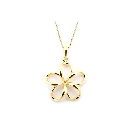 14k Yellow Gold Hawaiian Flower Pendant Necklace, 13 15 16 18 20 or 22 (Hawaiian Flower Necklace)