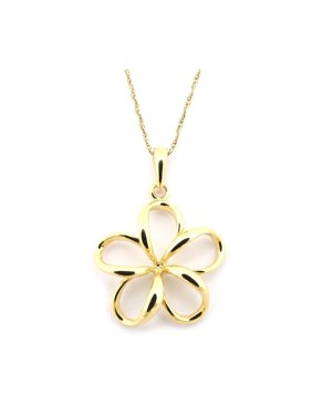 14k Yellow Gold Hawaiian Flower Pendant Necklace, 13 15 16 18 20 or 22