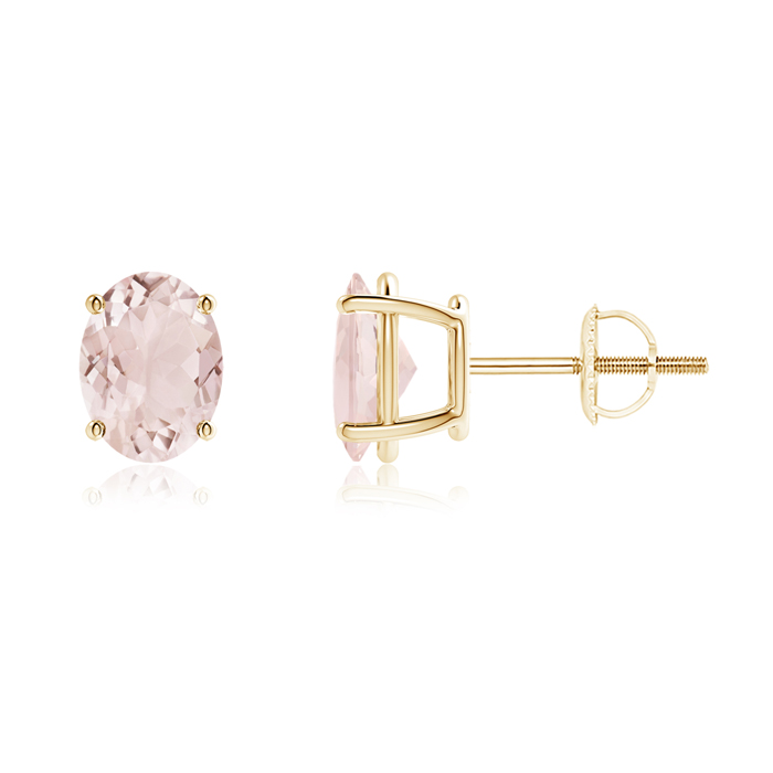 Angara Morganite Stud Earrings in 14k White Gold B5JCTcVD