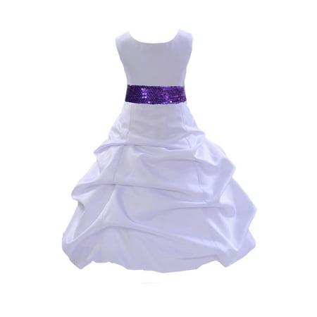 Ekidsbridal Formal Satin White Flower Girl Dress Sequin Mesh Sash