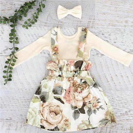 SUNSIOM Toddler Kids Baby Girl Long Sleeve Tops Floral Dress Skirt Outfits Set Clothes