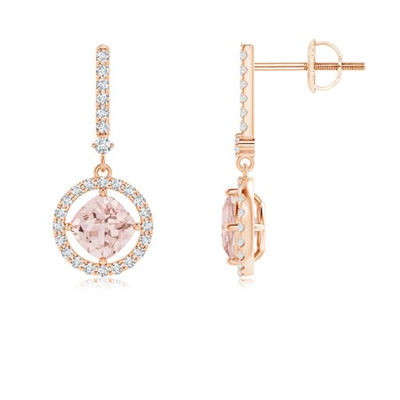 5434e0e3b Angara - Floating Cushion Morganite and Diamond Halo Drop Earrings in 14K  Rose Gold (5mm Morganite) - SE1055MGD-RG-AAA-5 - Walmart.com