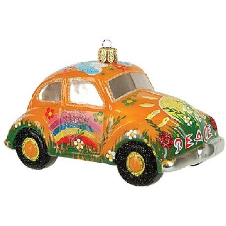 Yellow Hippie Car VW Bug Polish Glass Christmas Ornament Made Poland Decoration