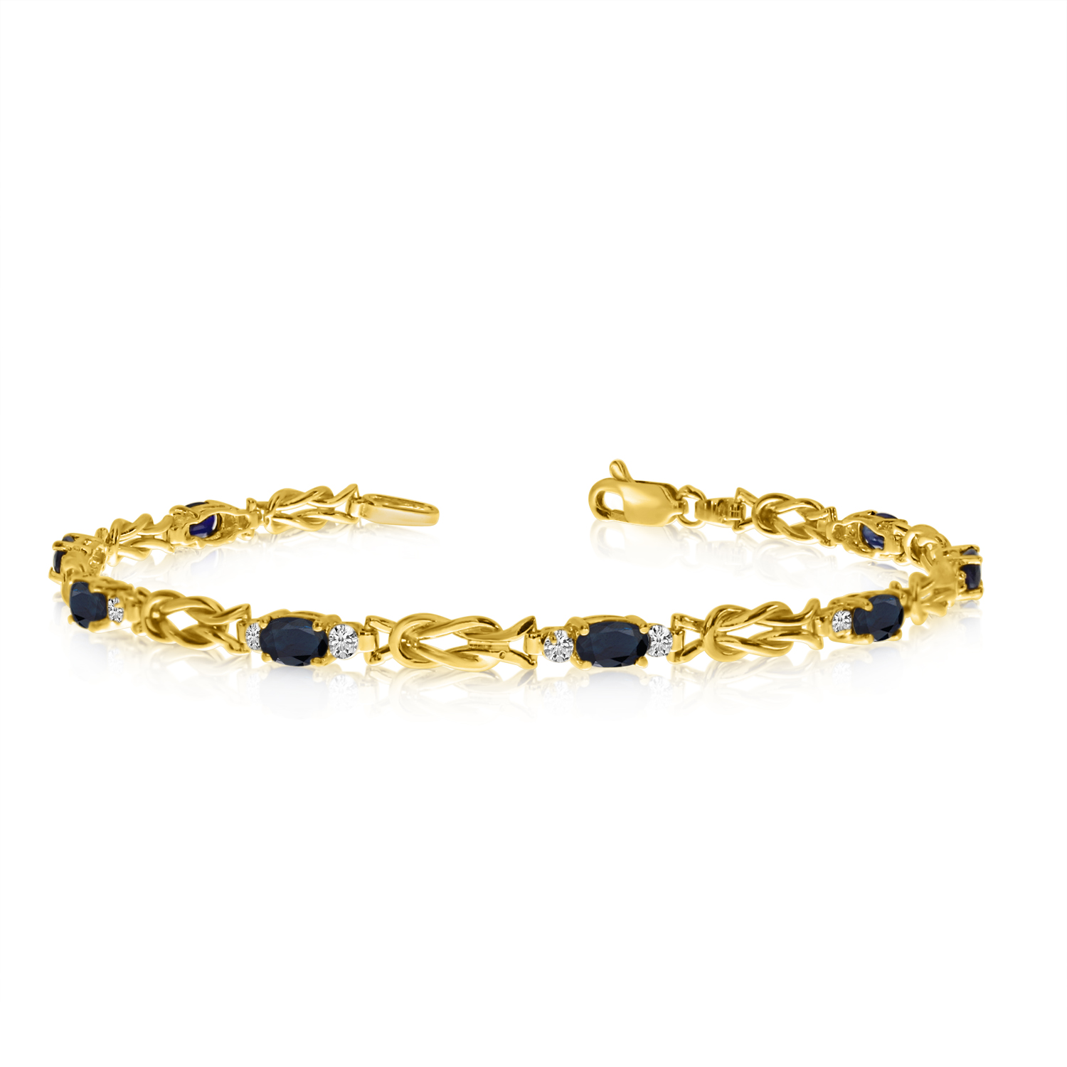 10K Yellow Gold Oval Sapphire and Diamond Bracelet by