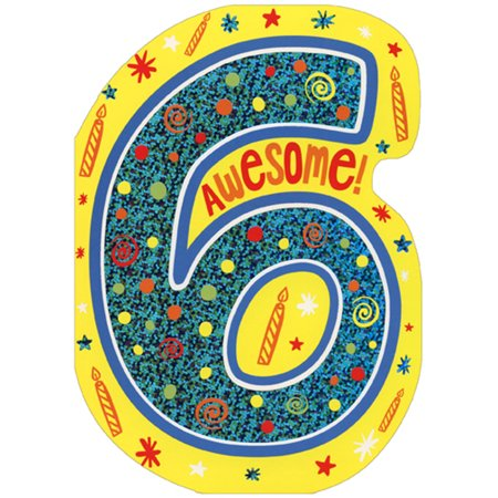 Paper House Productions Awesome Six Die Cut Foil Age 6 / 6th Birthday Card