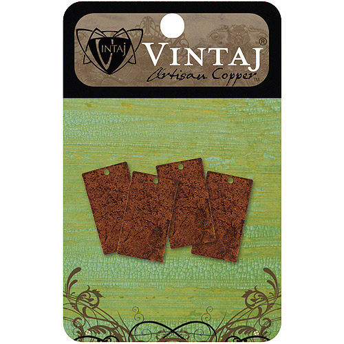 Vintaj Metal Altered Blanks 4pk, Rectangle, 22.5mm x 12.5mm