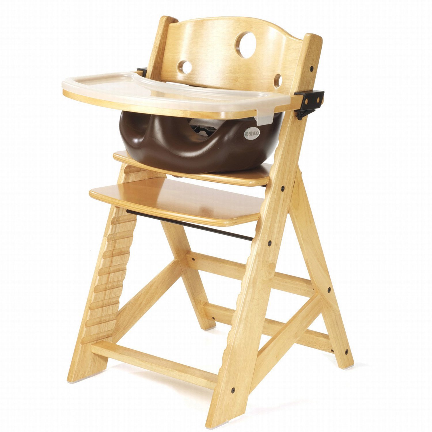Keekaroo Height Right High Chair Natural with Chocolate Infant Seat & Tray