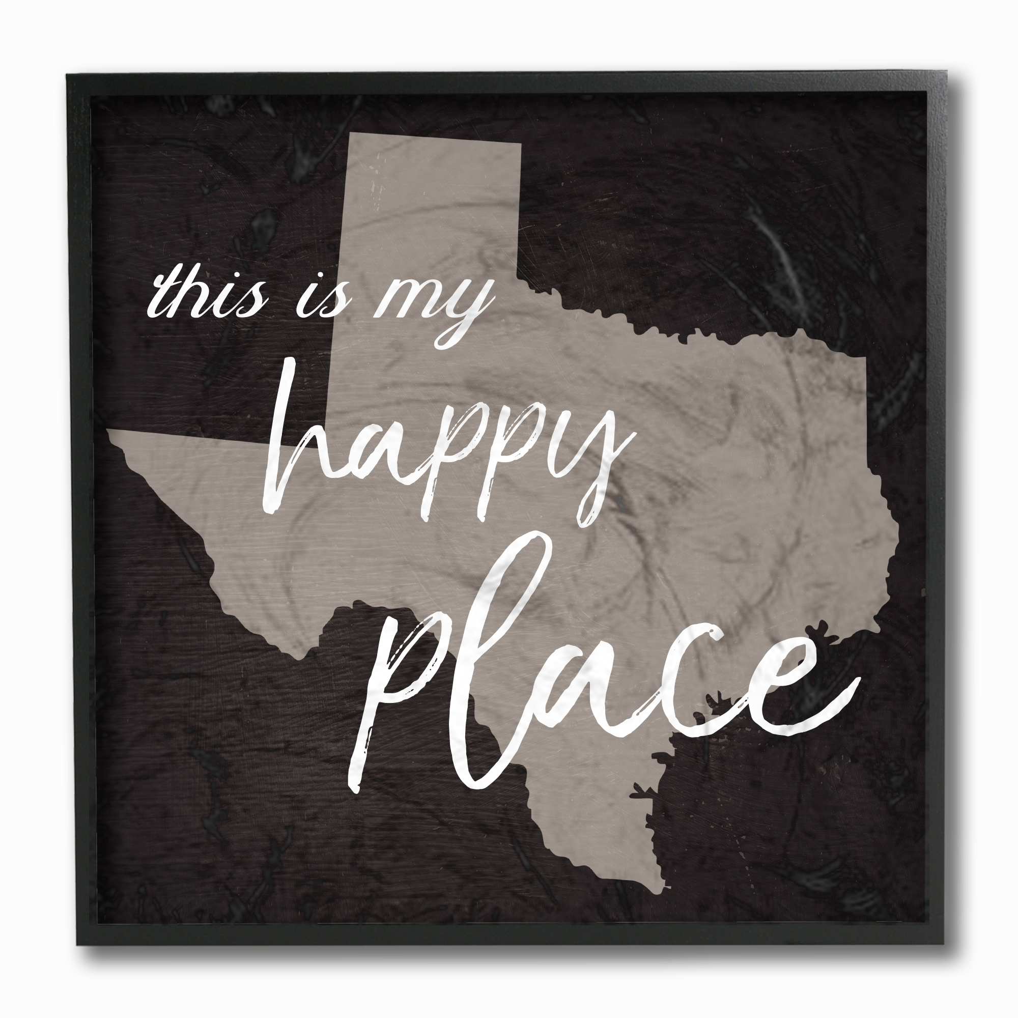 The Stupell Home Decor Collection This Is My Happy Place Texas Framed Giclee Texturized... by Stupell Industries