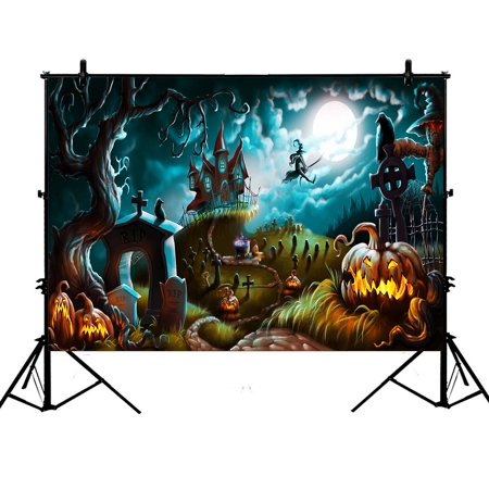 GCKG 7x5ft Halloween Kids Creepy Graveyard Halloween Laterns Witchs Castle Crow Enchanted Forests Children Baby PolyesterBackdropPhotographyProps - image 4 of 4