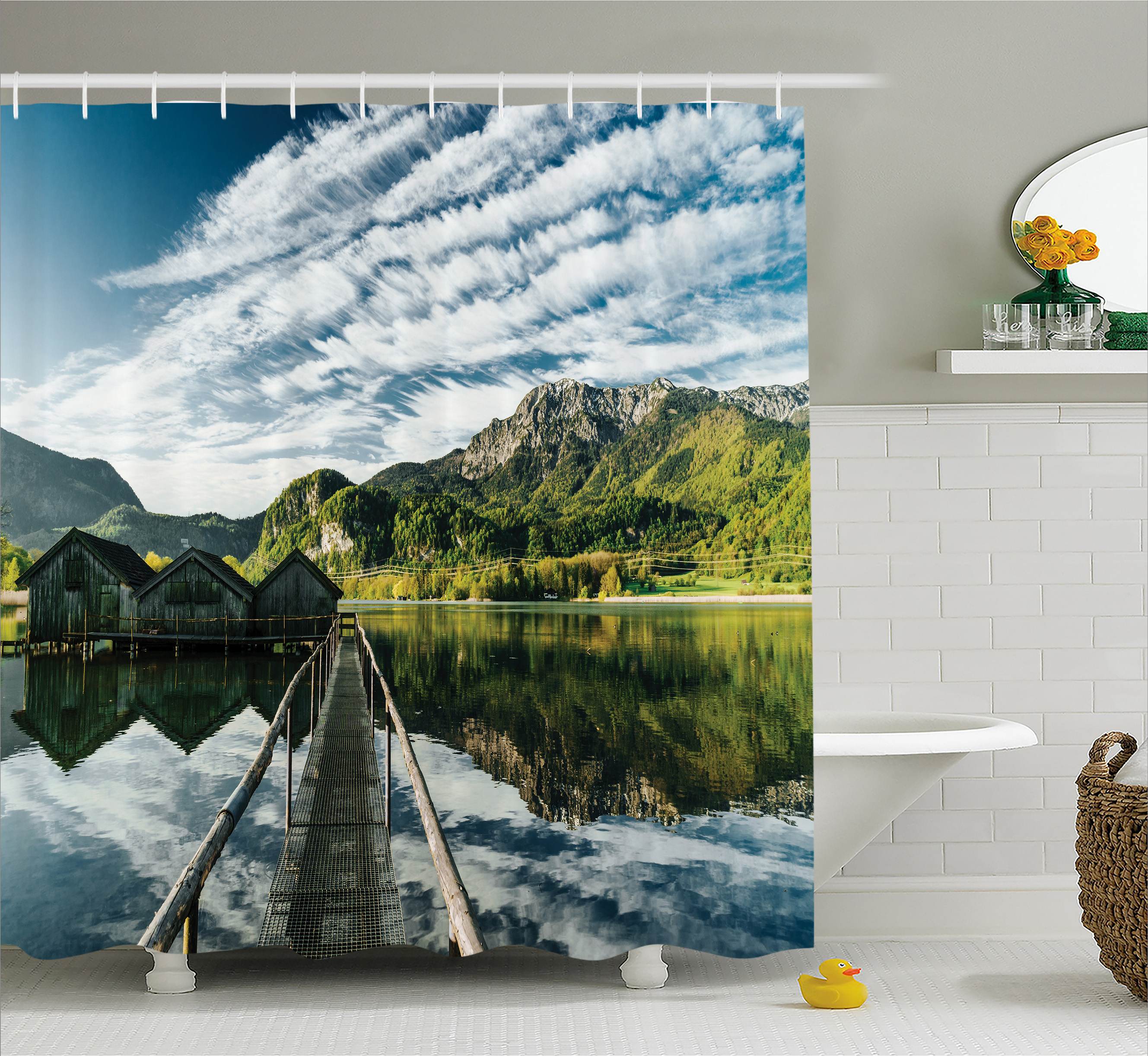Lake House Decor Shower Curtain, Long Exposure Deck on Idyllic Habitat Mountain River Clouds on Wild Valley, Fabric Bathroom Set with Hooks, 69W X 84L Inches Extra Long, Blue Green, by Ambesonne