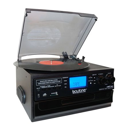 Boytone BT Classic IN & OUT Style Record Player Turntable with AM/FM Radio, Cassette Player, CD Player, 2 Separate Stereo Speakers, Record Vinyl, Radio, Cassette to MP3, SD Slot, USB,
