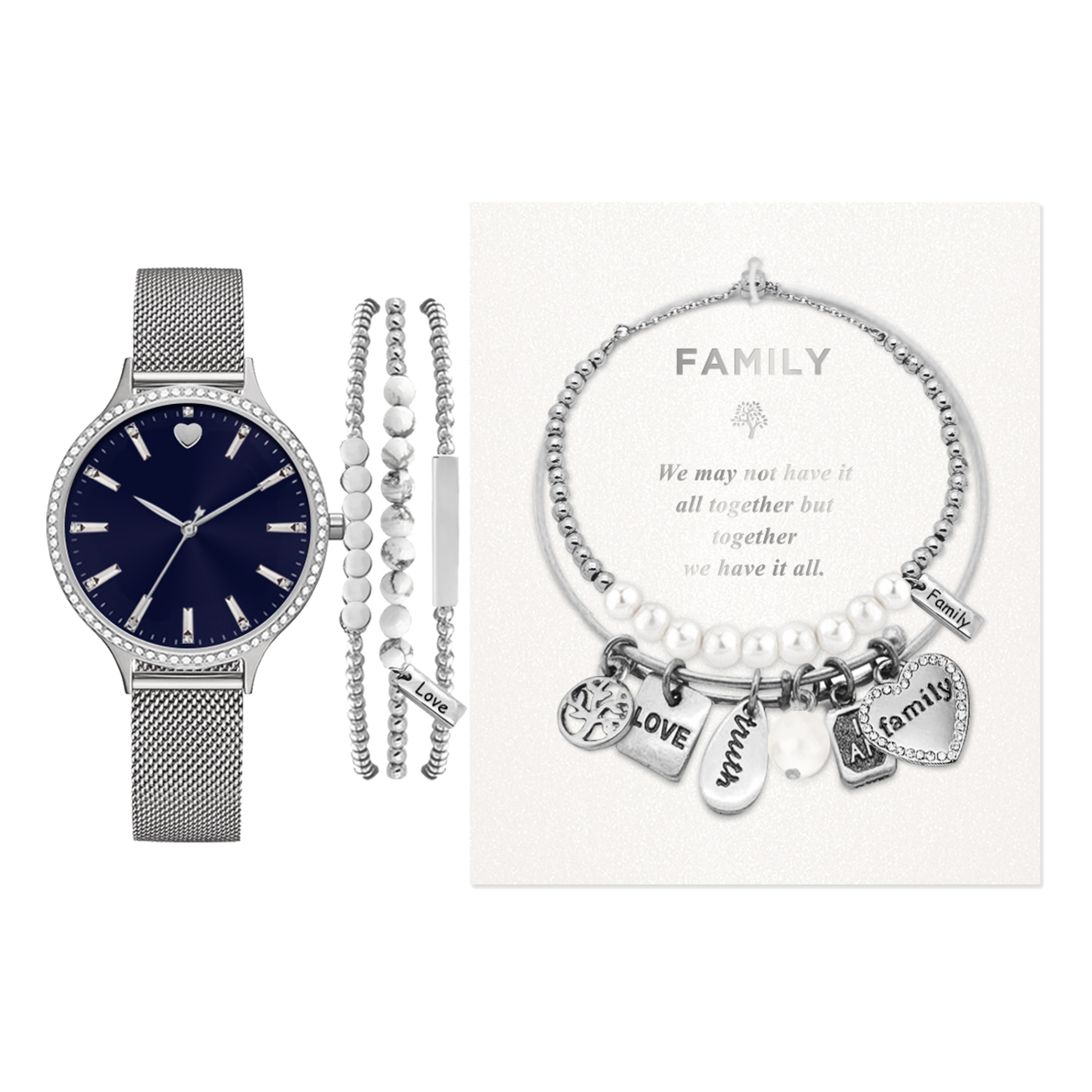 American Exchange Women S Holiday Watch And Bracelet Set Silver