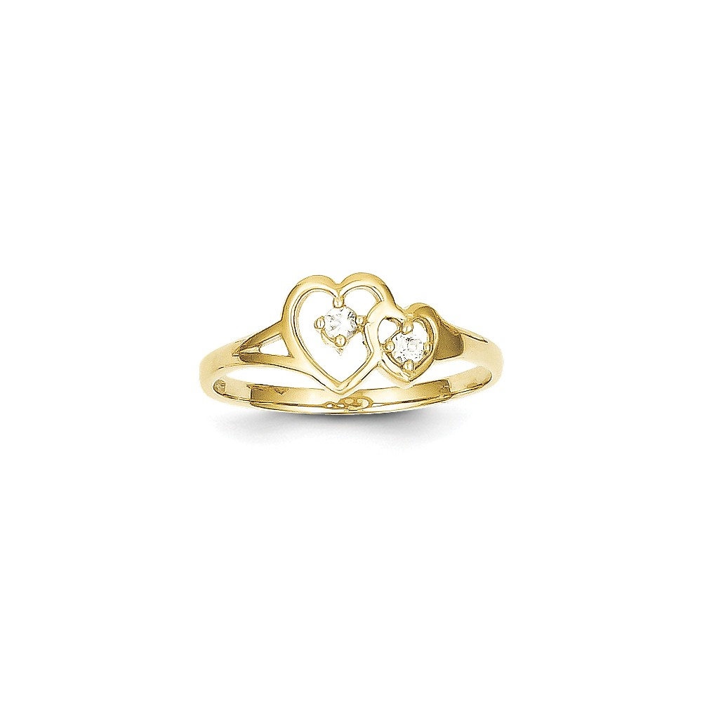 10K Yellow Gold & Rhodium Double Heart CZ Ring