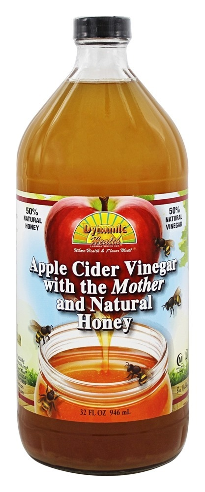 Dynamic Health Organic Apple Cider Vinegar with the Mother and Natural Honey Glass 32 oz. by Dynamic Health