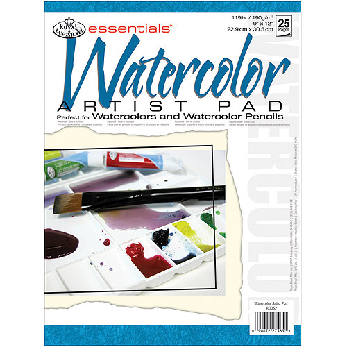 "Royal Brush Essentials Artist Paper Pad, 9"" x 12"", Watercolor, 25 Sheets"